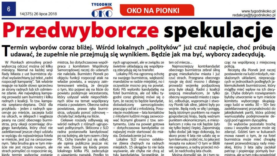 Nowy numer Tygodnika OKO – Przedwyborcze spekulacje